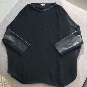 Black Sweater with Vegan Leather Sleeves